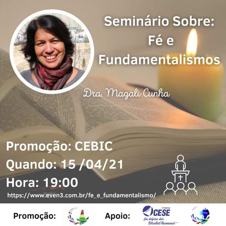 """CEBIC realizará Seminário """"Fé e Fundamentalismo"""" no dia 15 de abril"""
