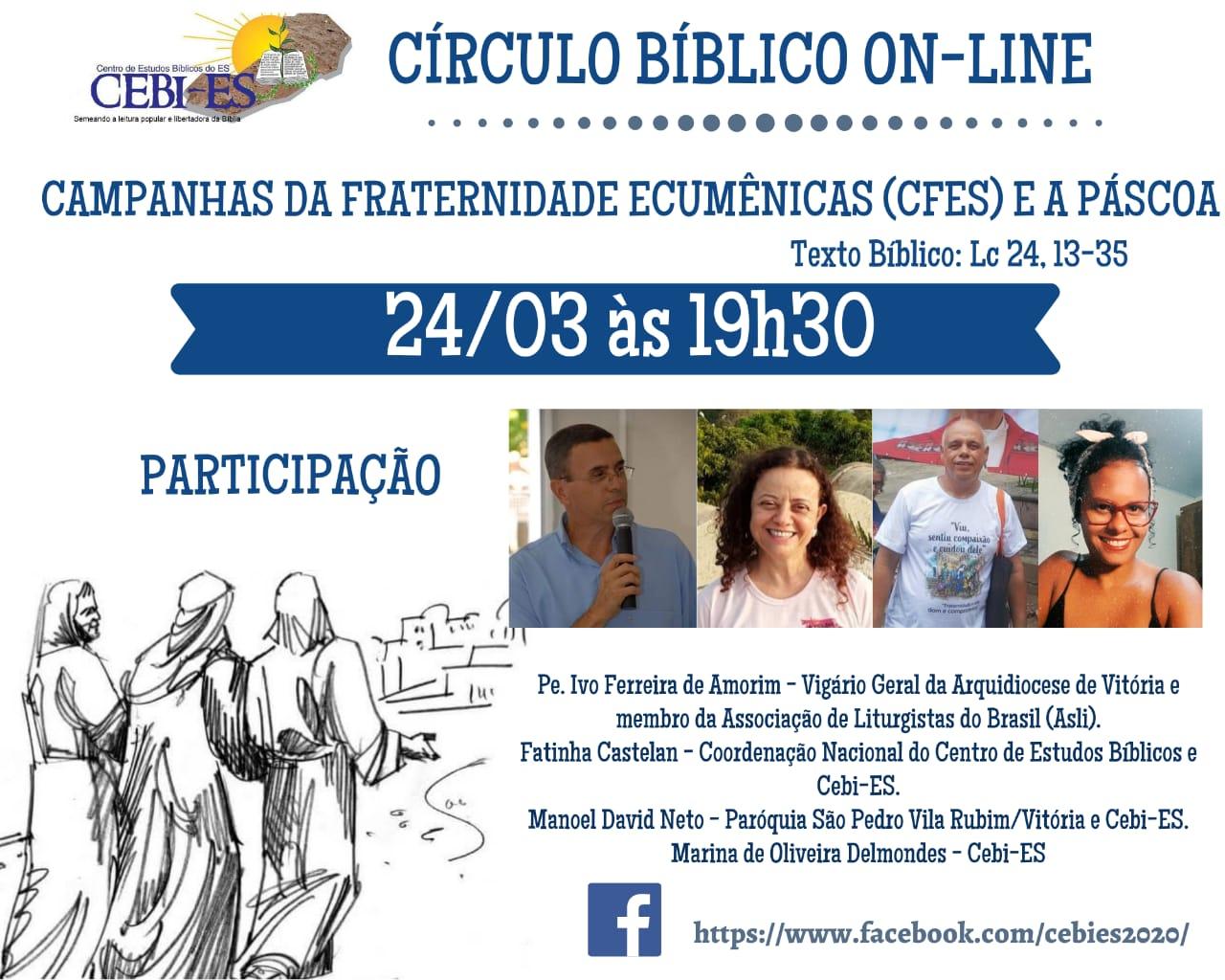 """CÍRCULO BÍBLICO do CEBI ES refletirá sobre  """"As Campanhas da Fraternidades Ecumênicas e a Páscoa"""""""