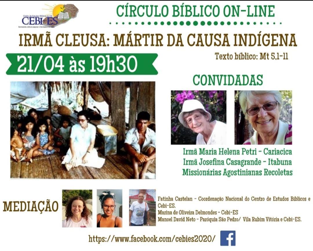 Circulo Bíblico do CEBI ES lembrará nesta quarta(22), a Irmã Cleusa, mártir da causa indígena