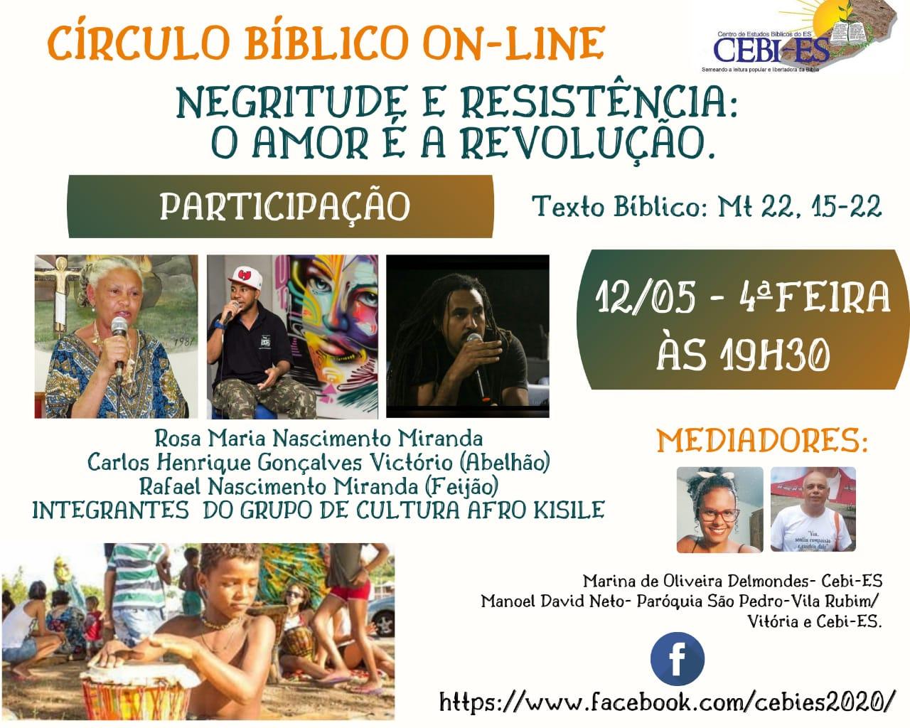 """CEBI ES- """"Negritude e Resistência:  o amor é a revolução"""", tema do Círculo Bíblico desta quarta(12)"""