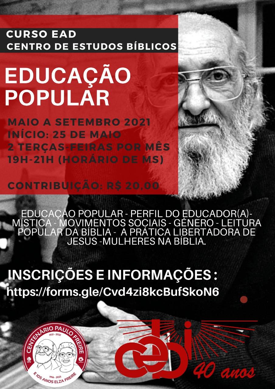 Centenário Paulo Freire – CEBI Mato Grosso do Sul abre inscrições para Curso em Educação Popular