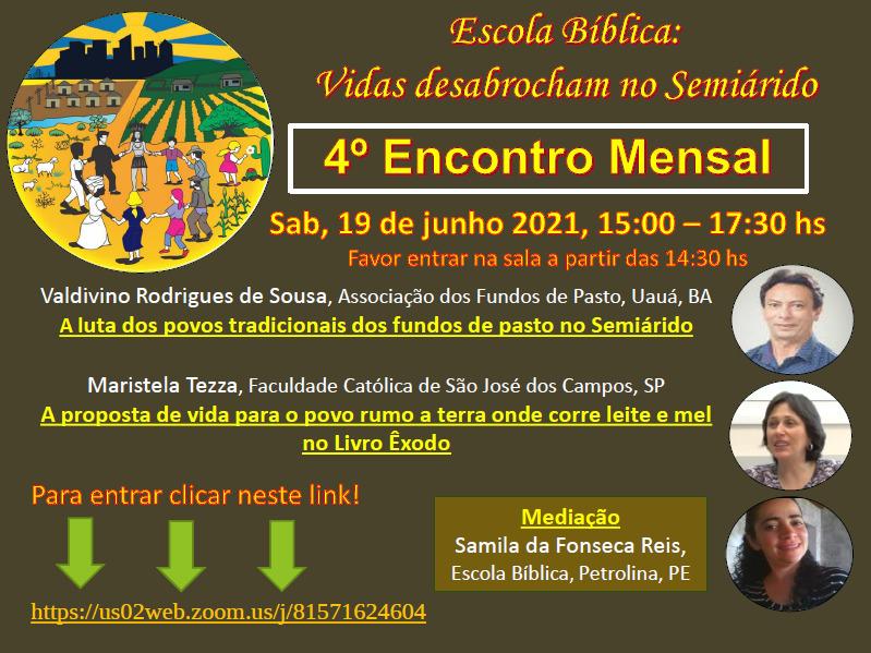 Escola Bíblica Vidas Desabrochando no Semiárido realiza seu quarto encontro sobre Povos Tradicionais, Terra e livro Êxodo