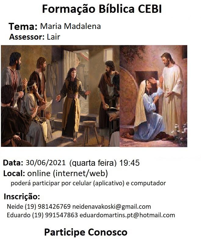 CEBI Campinas -SP promove estudo sobre Maria Madalena