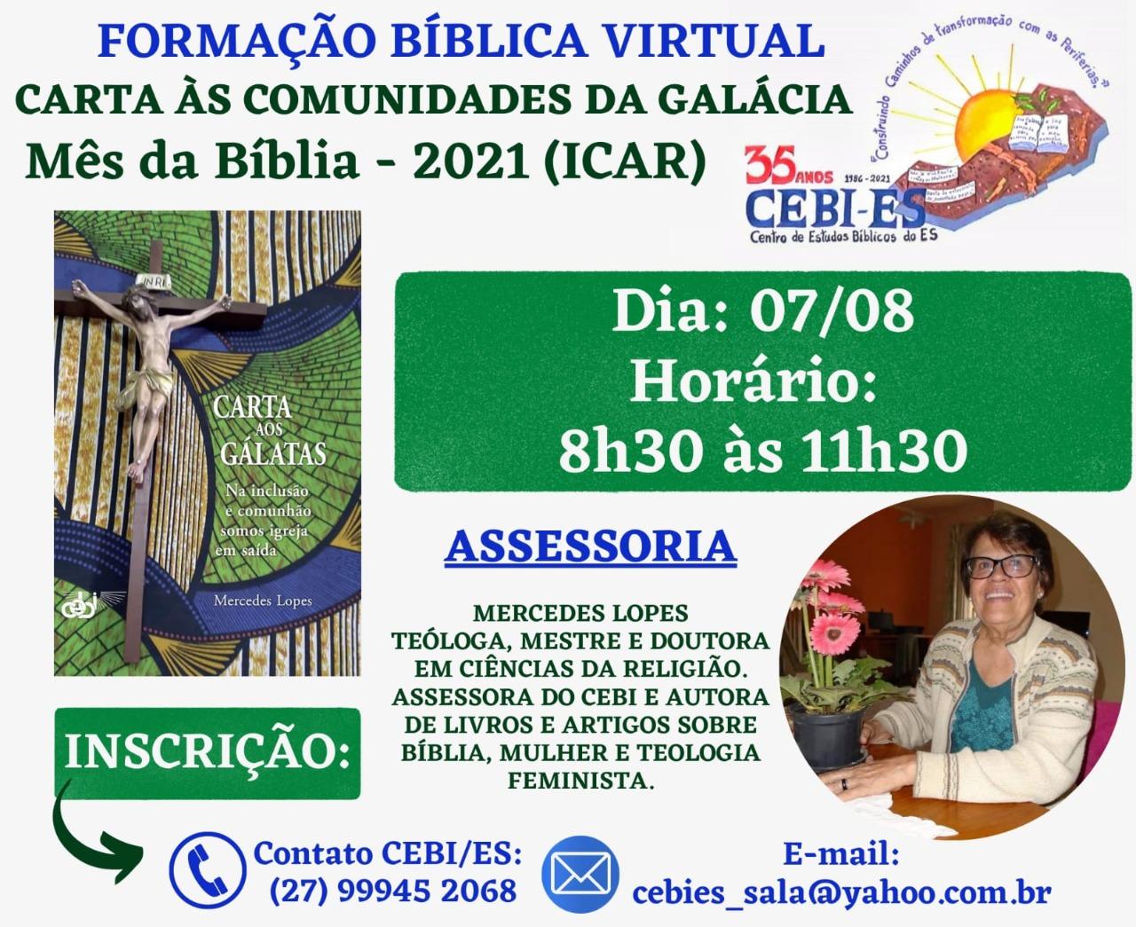 CEBI ES tem formação sobre tema do Mês da Bíblia 2021(ICAR)