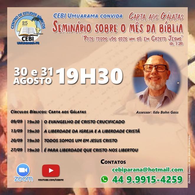 CEBI Umuarama  realiza Seminário sobre o Mês da Bíblia, nos dias 30 e 31 de agosto. Inscrições abertas!