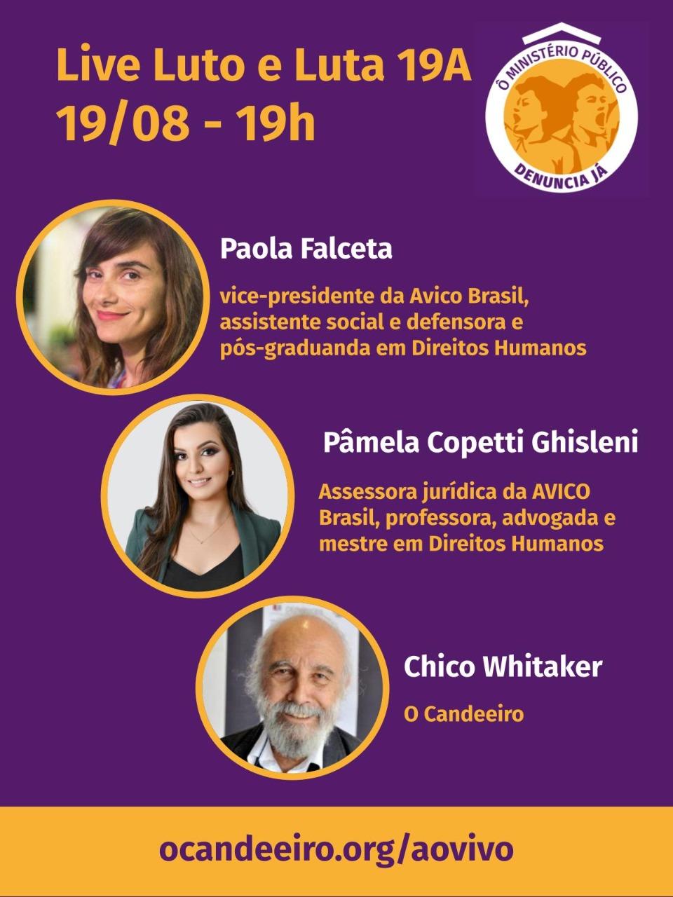 Participe da live Luto e Luta 19A com a AVICO – Associação de Vítimas e Familiares de Vítimas da Covid-19, na 5ª feira, às 19h