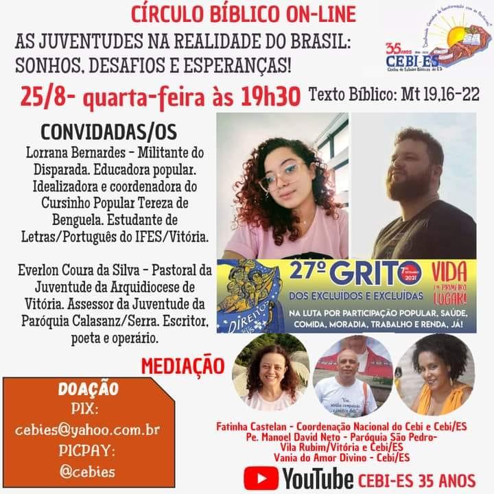Círculo Bíblico do CEBI ES nesta quarta(24) refletirá as juventudes na realidade brasileira