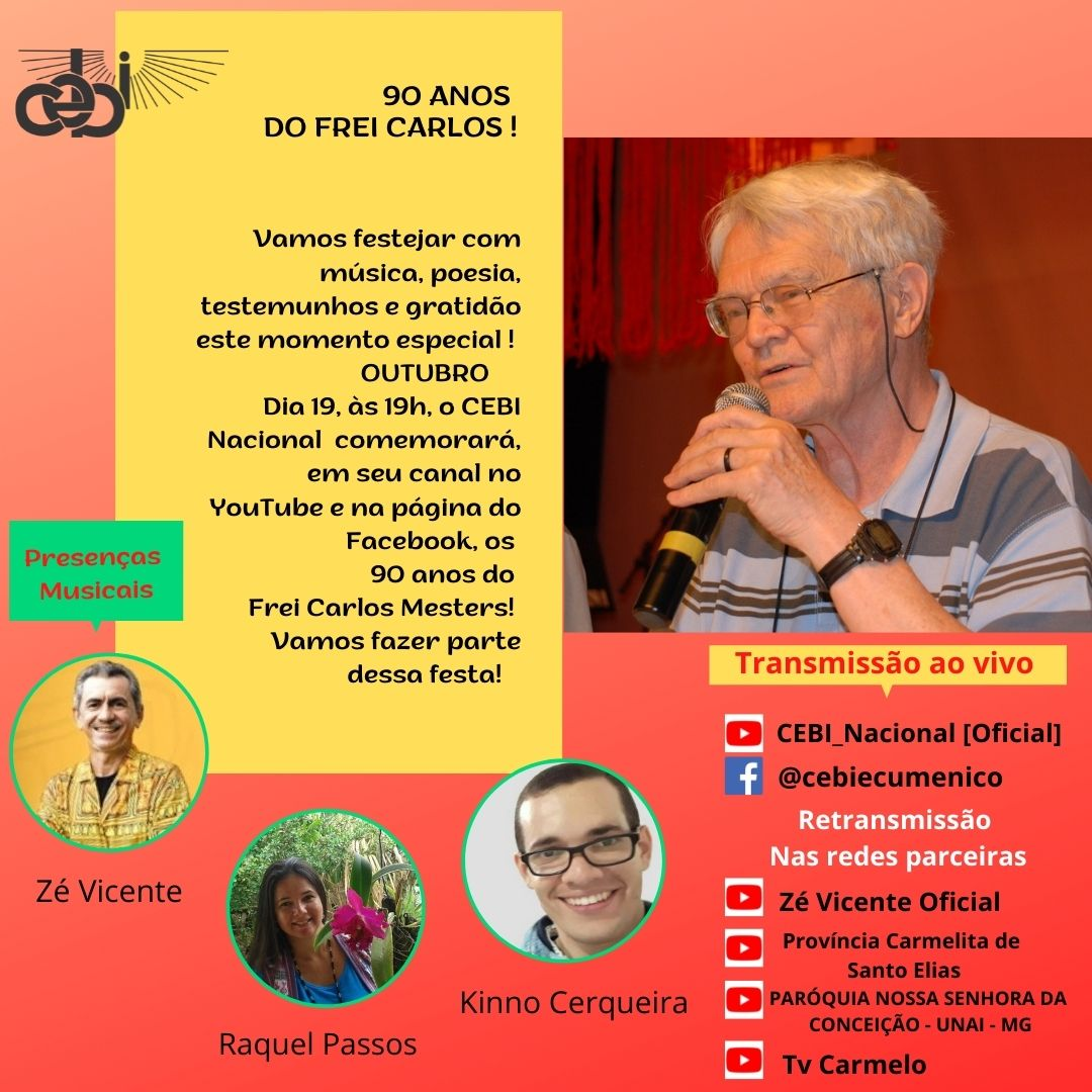 90 anos do Frei Carlos Mesters serão celebrados neste terça-feira(19) em LIVE do CEBI Nacional