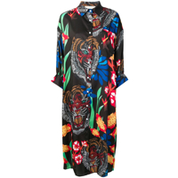 5 Progress Tiger Print Shirt Dress - Preto