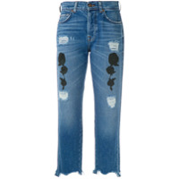 7 For All Mankind Calça Jeans Reta Com Bordados - Azul