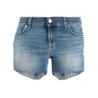 7 For All Mankind Short Jeans Com Franjas - Azul