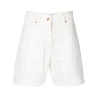 Aalto High-Waisted Denim Shorts - Branco