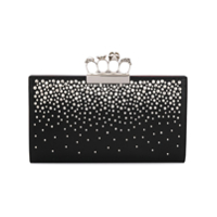 Alexander Mcqueen Four-Ring Crystal Embellished Clutch - Preto