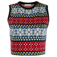 Alice+Olivia Cropped Knitted Top - Vermelho