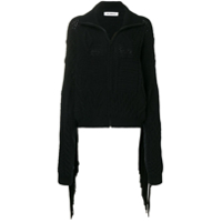 Almaz Fringed Sleeve Zipped Cardigan - Preto