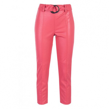 Amaro Feminino Calça Cropped Leather Fashion, Rosa