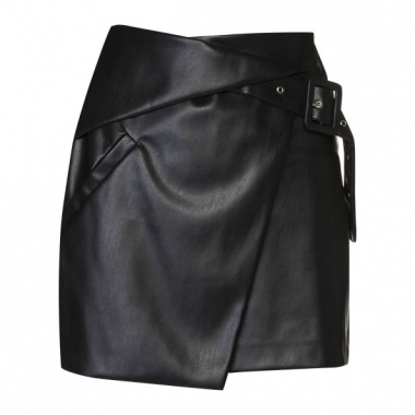 Amaro Feminino Mini Saia Leather Transpassada, Preto
