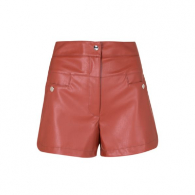 Amaro Feminino Shorts Fashion De Leather, Laranja