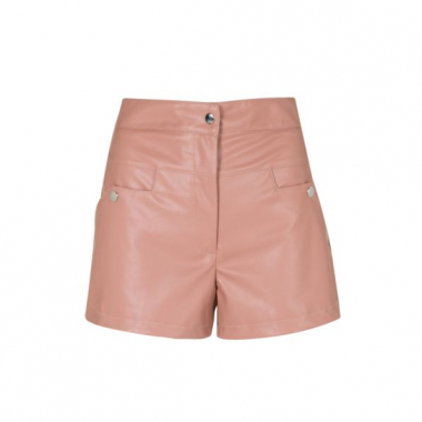 Amaro Feminino Shorts Fashion De Leather, Rosa