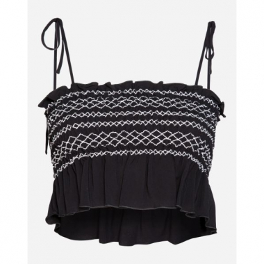 Amaro Feminino Top Cropped Com Bordados, Preto