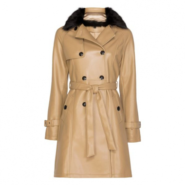 Amaro Feminino Trench Coat Leather Com Gola Fur, Marrom