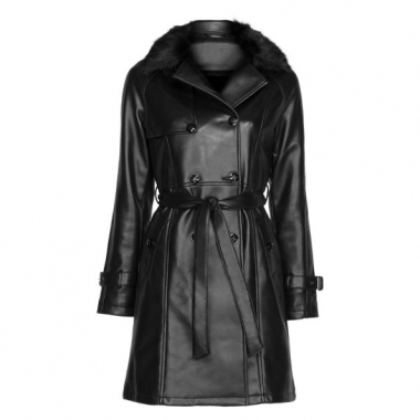 Amaro Feminino Trench Coat Leather Com Gola Fur, Preto