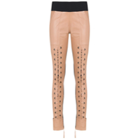 Andrea Bogosian Lace Up Leather Pants - Neutro