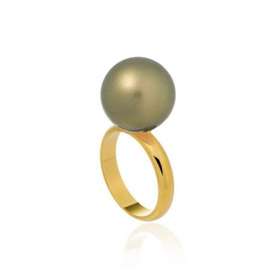 Anel Bubbles Ouro Shell Verde