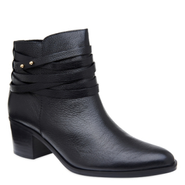 Ankle Boot Tiras Black Couro