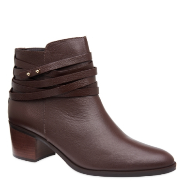 Ankle Boot Tiras Brown Couro