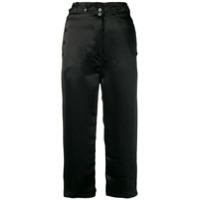Ann Demeulemeester Cropped Satin Trousers - Preto