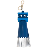 Anya Hindmarch Chaveiro De Couro Com Tassel 'space Invaders' - Azul