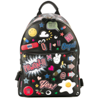 Anya Hindmarch Mochila De Couro 'all Over Stickers' - Preto