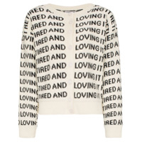 Ashley Williams Slogan-Knitted Merino Wool Cardigan - Branco