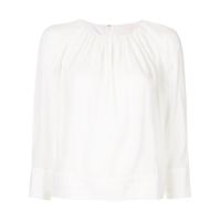 Ballsey Gathered Neck Cropped Blouse - Branco