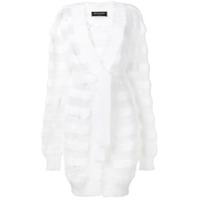 Balmain Cardigan Listrado Destroyed - Branco