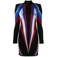 Balmain Vestido Slim Color Block - Preto