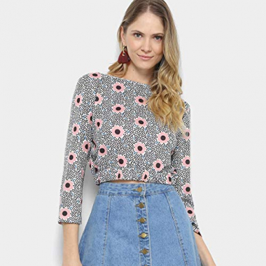 Blusa Cropped Estampada My Favorite Thing Feminino - Estampado - G