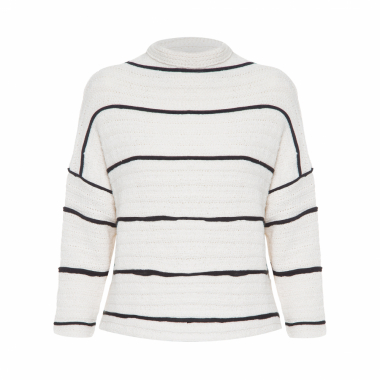 bdf4653682 Blusa Femiina Pullover Cropped Eco Striped - Off White ...