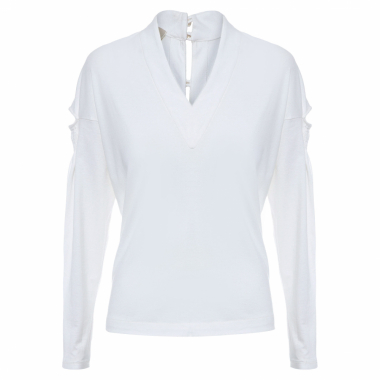 Blusa Feminina Mangas Longas V Super Cotton - Off White