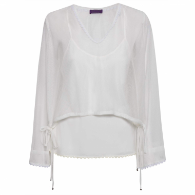 Blusa Feminina Top Decote Tule - Off White