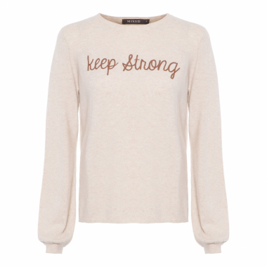Blusa Feminina Tricot Keep Strong - Bege