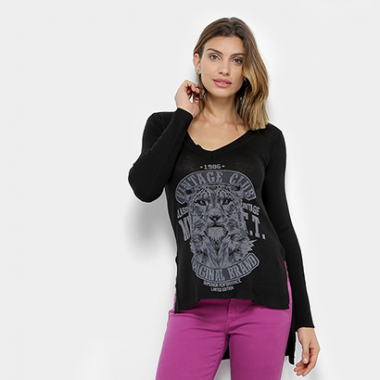 Blusa My Favorite Thing (S) Estampada Long Manga Longa Feminina-Feminino