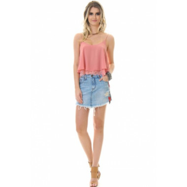 Blusa Renda Barra Blush