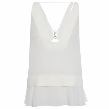 Blusa Seda Alça Top Mix Crepe Lisa - Off White
