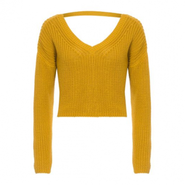 Blusa Tricot Cropped V Fyi - Amarelo