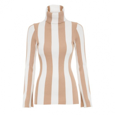 Blusa Tricot Listra Vertical Animale - Bege