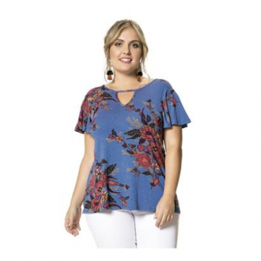 Blusa Viscose Stretch Floral Wee! Plus Size-Feminino