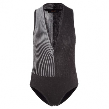 Body Tricot Nervura Animale - Preto