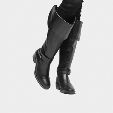 Bota Couro Over The Knee Shoestock Fivelas Feminina-Feminino